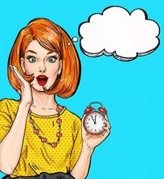 image of pop art - Surprised Pop Art girl with clock  with thought bubble - JPG
