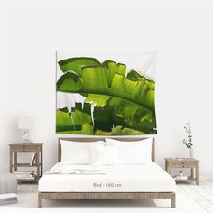 Fabric wall hanging of Banana leaf for a tropical decoration, Boho chic wall art for dorm room. (SHIPS from Europe). Bohemian Decor, Boho Chic, Wall Tapestries, Tapestry, Room Wall Decor, Tropical Decor, Bedroom Inspo, Dorm Room, Printing On Fabric