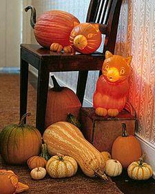 DIY Halloween Decor: Pumpkin Cat Creatures
