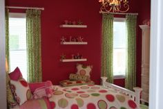Love the green curtains against the hot pink walls. This would be really cute for Emily.