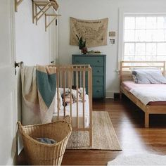 Baby Cribs in Master Bedrooms, Room Design Ideas and Furniture Placement A baby nursery in a master bedroom is a smart-budget idea if your family grows and your home has no free rooms Baby Bedroom, Kids Bedroom, Master Bedrooms, Boys Shared Bedroom Ideas, Master Room, Trendy Bedroom, Baby Nook, Nursery Nook, Nursery Twins