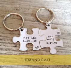 Her One, Her Only / Puzzle Piece Keychains / Gay Couples Jewelry / LGBT Couples Set on Etsy, $24.00