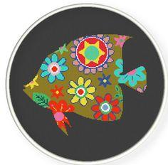 Buy 4 get 1 free ,Buy 6 get 2 free,Cross stitch pattern, Cross-Stitch PDF, pattern design ,flower fish pattern,zxxc0281. $4.50, via Etsy.