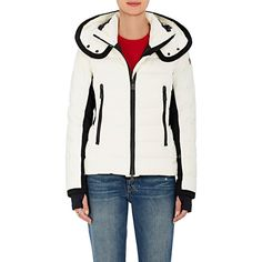 Moncler Women's Lamoura Puffer Coat ($1,510) ❤ liked on Polyvore featuring outerwear, coats, cream, thermal coat, white toggle coat, white coat, insulated coat and toggle coat