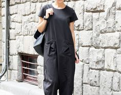 """This is a favorite overalls. Comfortable drop crotch Jumpsuit.  Loose and sexy union suit perfect for everyday and Night Club.  Wear with sneakers, boots or high heels. Suitable for spring and autumn.  Wear with pleasure. Be unique.  All garments are handmade.   Please provide your PHONE NUMBER for delivery *** NOW ALL ORDERS ARE SHIPPED VIA TNT EXPRESS ***   This model is wearing size S  SIZE CHART (measurements of the body NOT of the garment)  XS (US 2 UK 6) Bust 84 cm   33"""" Waist 66 cm…"""