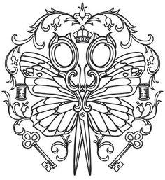 Parisian Butterfly Scissors design (UTH17953) from UrbanThreads.com
