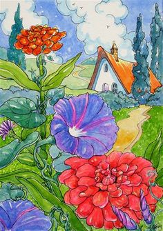 """Morning Glories in the Zinnias Storybook Cottage Series"" - Original Fine Art for Sale - © Alida Akers"