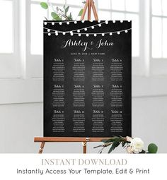 Wedding Seating Chart Template Instant String Light Charts