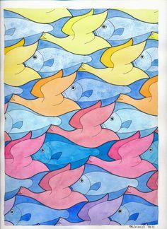MC Escher nr 22 #tessellation #tiling #symmetry #wallpaper #handmade #mathart #regolo54 #aquarelle #watercolor #escher #fish #birds