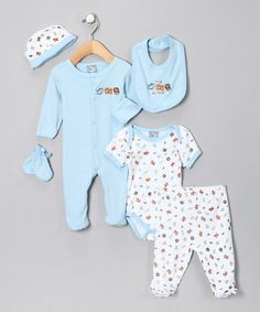 Take a look at this Light Blue 'Love Animals' Six-Piece Layette Set by Sweet & Soft on #zulily today!