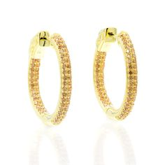 ZDE5004 STERLING SILVER 925 GOLD PLATED CHAMPAGNE CZ HOOP EARRINGS