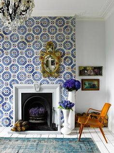 beautiful tile work and fireplace.