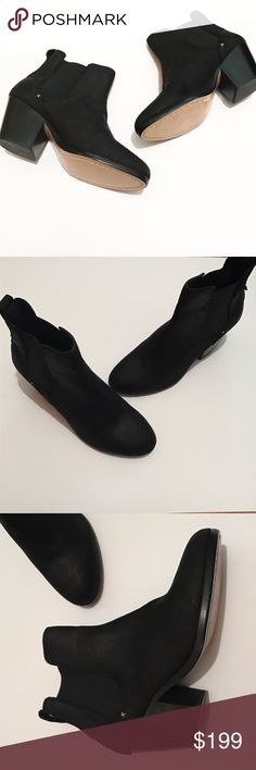 Retail $525 Rag & Bone Dixon Booties. NWOT • Size sticker is to still on bottoms • Perfect condition besides some residue from original sticker on one bottom • Black essential boots that every girl needs! • Brushed suede material, feels textured • Elastic side panels to easily slip on and off • Heel is approximately 2 inches • Size marked 37.5, which equates to a 7 • Ask all questions before purchasing/making an offer. rag & bone Shoes Ankle Boots & Booties