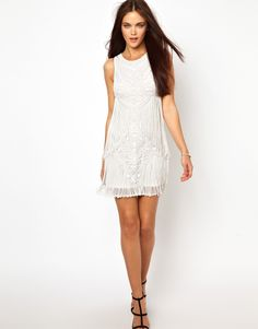 River Island. Beaded and Fringed Shift Dress.