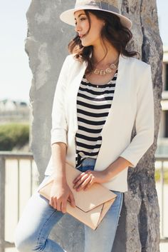 classic summer outfit // #stripes #white #blazer