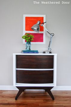 High Gloss Salsa Buffet Modern High Gloss Credenza with Geometric Drawers Reverse Dipped Mid Century Dresser with Angled Sides Black Milk Paint Buffet Orange Mid Century Modern Dresser  Magen…