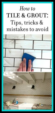 Color for the subway tile grout! New Laundry Room: Subway Tile & Grout - Tips & Tricks Home Improvement Projects, Home Projects, Home Renovation, Home Remodeling, Kitchen Remodeling, Armoire, Tile Grout, How To Tile Backsplash, Tiling