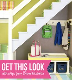Get This Look - Small-Space Mudroom Under The Stairs via remodelaholic.com #stairs #storage #mudroom #bench