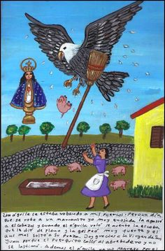 Mexican Exvoto retablo Eagle and Pigs