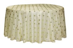 Sequin Embroidery Taffeta 132 inch Tablecloth Ivory at CV Linens