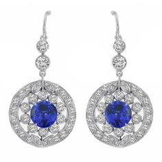 Antique Style 3.29ct Round Cut Sapphire 2.51ct Round Cut Diamond 18k White Gold Dangling Earrings - See more at: http://www.newyorkestatejewelry.com/earrings/art-deco-style-3.29ct-sapphire-2.51ct-diamond--gold-dangling-earrings/23178/5/item#sthash.eaeMf0Ct.dpuf