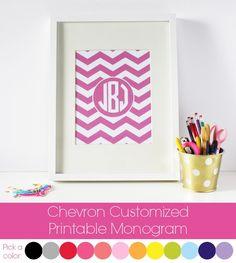 free chevron printable: customize with your own monogram + print