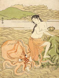 Katsukawa Shunshō. Abalone Fishergirl with an Octopus (woodblock print), Japan, c. 1774