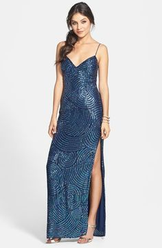 Free shipping and returns on Sean Collection Beaded Silk Georgette Column Dress at Nordstrom.com. Whorls of light-catching sequins shimmer atop a stunning silk-georgette dress styled with a side slit that eases the column silhouette.