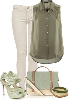This Pin was discovered by LOLO Moda. Discover (and save!) your own Pins on Pinterest. | See more about mint purse, white jeans and heeled sandals.