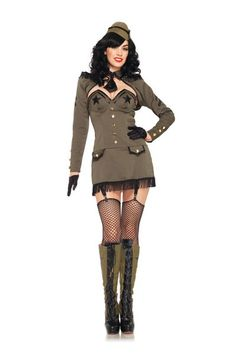 Khaki 5 PC Pin Up Army Girl Costume @ Amiclubwear costume Online Store,sexy costume,women's costume,christmas costumes,adult christmas costumes,santa claus costumes,fancy dress costumes,halloween costumes,halloween costume ideas,pirate costume,dance cost