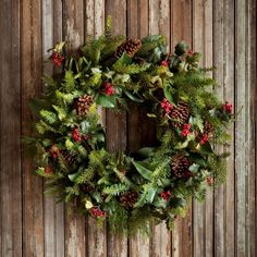 """Park Hill Collection: 32"""" Gathered Evergreens Wreath $110"""