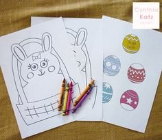 Easter Bunny Coloring Pages // Easter Party by #CynthiaKatzDesign #easter #forkids
