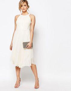 Oasis | Oasis Pleat Asymmetric Hem Midi Dress at ASOS
