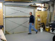 hanger style bifold door on my shed 1 - YouTube