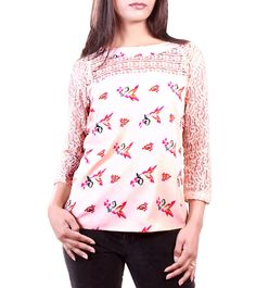 Peach Crochet Polyester Top #indianroots #top #crochet #polyester
