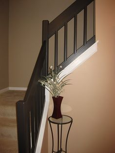 painting a already white wood railing Wood Railing, House Design, Painted Staircases, Interior Railings, Basement Remodeling, Home Remodeling, Home Decor, Small House Remodel, Contemporary Living Room Design