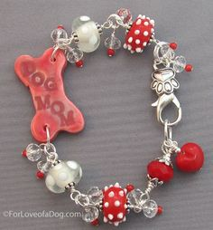 Dog Mom Bracelet Red Coral White Polka Dots Red Heart   Handmade at ForLoveofaDog.com #dogmom #dogbracelet #dogjewelry