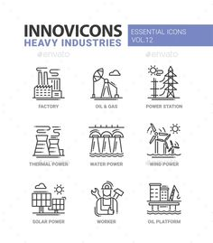 Heavy Industry Line Design Icons Set by decorwm Set of modern vector heavy industry line flat design icons and pictograms, infographics objects and web elements. Factory, oil and Flat Design Icons, Icon Design, Design Art, Graphic Design, Wind Power, Solar Power, Oil Platform, Sign System, Water Powers
