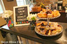 teacher appreciation breakfast - keep calm and donut stress haha! LOVE!