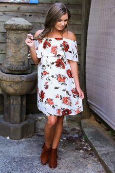 Love Me True White Floral Print Off-The-Shoulder Dress at reddressboutique.com