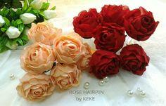 Rose hairpin,hairpin,tusuk konde,hiasan sanggul,assesoris pengantin,assesories wedding,wedding assesories,mawar sifon