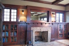 Craftsman Living Room Design Ideas, Pictures, Remodel and Decor - If our ceiling was higher or our fireplace was shorter, our living room could look like this (assuming we've won the lottery.)