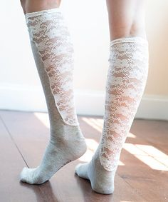 Another great find on #zulily! Sand Solid & Lace Wide-Calf Xpandasox® #zulilyfinds