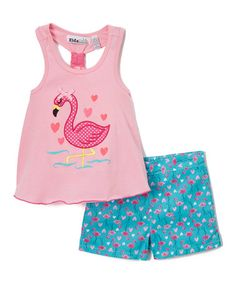 Look what I found on #zulily! Pink Flamingo Racerback Tank & Shorts - Infant, Toddler & Girls #zulilyfinds