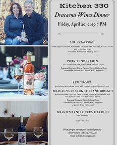 Learn all about the Cabernet Franc grape with Lori Budd owner of Draceana Wines. Chef Gus has a wonderful menu designed to pair with their wines. Fast Dinner Recipes, Fast Dinners, Tasting Menu, Wine Tasting, Tuna Poke, Vegetable Chips, Tuna Avocado, Wine Dinner, Easy Meals For Kids