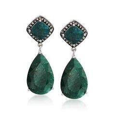 20.00 ct. t.w. Emerald and .35 ct. t.w. Natural Diamond Drop Earrings In Sterling Silver.