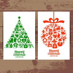 Beautiful cards merry christmas of tree and ball Free Vector