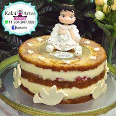 Anjinha topo de bolo para batizado de menina Caketop Porcelana fria Polymer Clay
