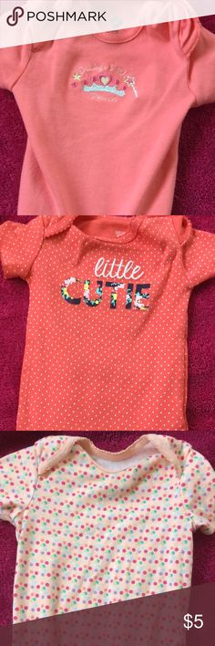 """Baby girl onesie 6-9 months Brand new, my baby grew out of them before she could wear them. Salmon color. 6-9 months. Reads """"Daddy's Little Princess"""" and """"Little Cutie"""" Carter's One Pieces Bodysuits"""