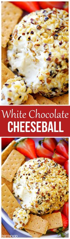 White Chocolate Cheeseball - This White Chocolate Cheeseball made with cream cheese, nuts, and chocolate is an easy and quick no-bake dessert that's perfect for any party, holiday, or get together. Easy No Bake Desserts, Best Dessert Recipes, Easy Desserts, Healthy Desserts, Party Recipes, Delicious Desserts, Healthy Recipes, Tiramisu Dessert, Chocolate Cheese
